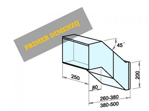 Vgradni nabiralnik dimenzije: 250 x 200 x 260-380/500 mm