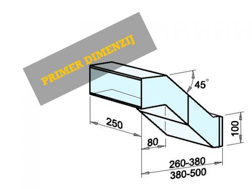 Vgradni nabiralnik dimenzije: 250 x 100 x 260-380/500 mm