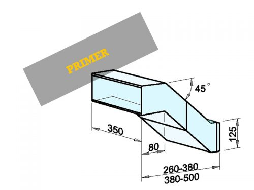 NABIRALNIK Dimenzije: 350 x 125 x 260-380/500 mm