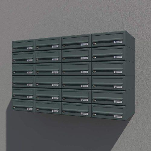 Prikaz izrisa, postavitve za stenskega poštnega nabiralnika Model 08-200 Antracit