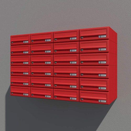Stenski poštni nabiralnik Model 08-200 Rdeča