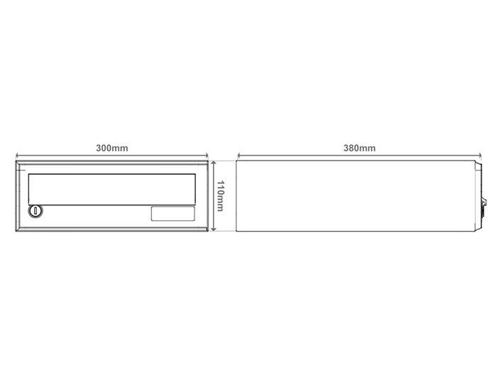 Primer dimenzij poštnega nabiralnika